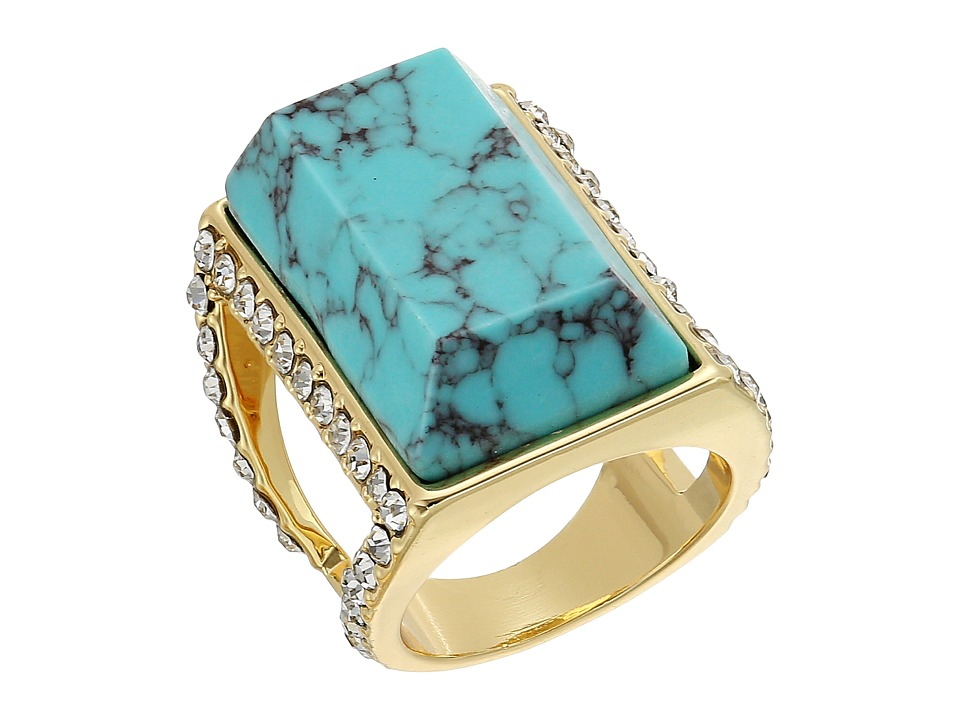 GUESS - Large Faux Turquoise Stone Ring (Gold/Turquoise/Crystal) Ring