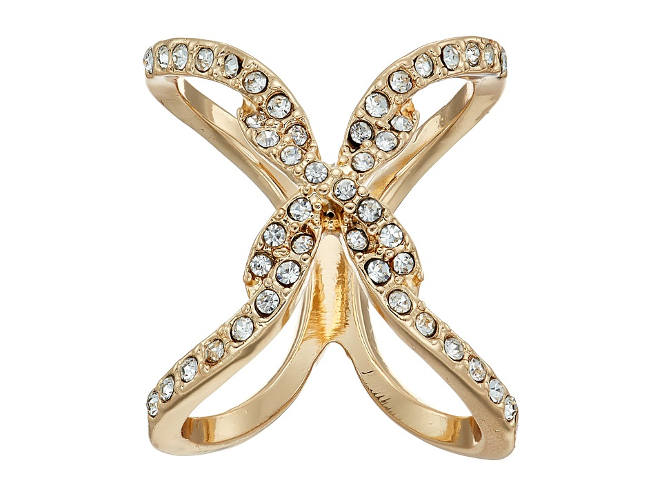 GUESS - Pave Open Crisscross Ring (Gold/Crystal) Ring