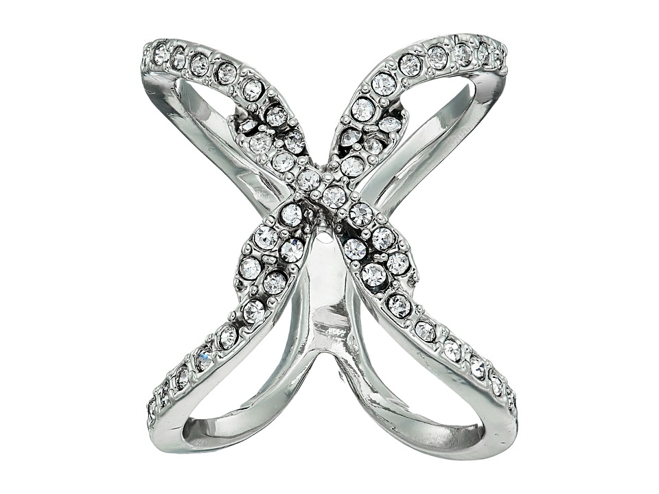 GUESS - Pave Open Crisscross Ring (Silver/Crystal) Ring