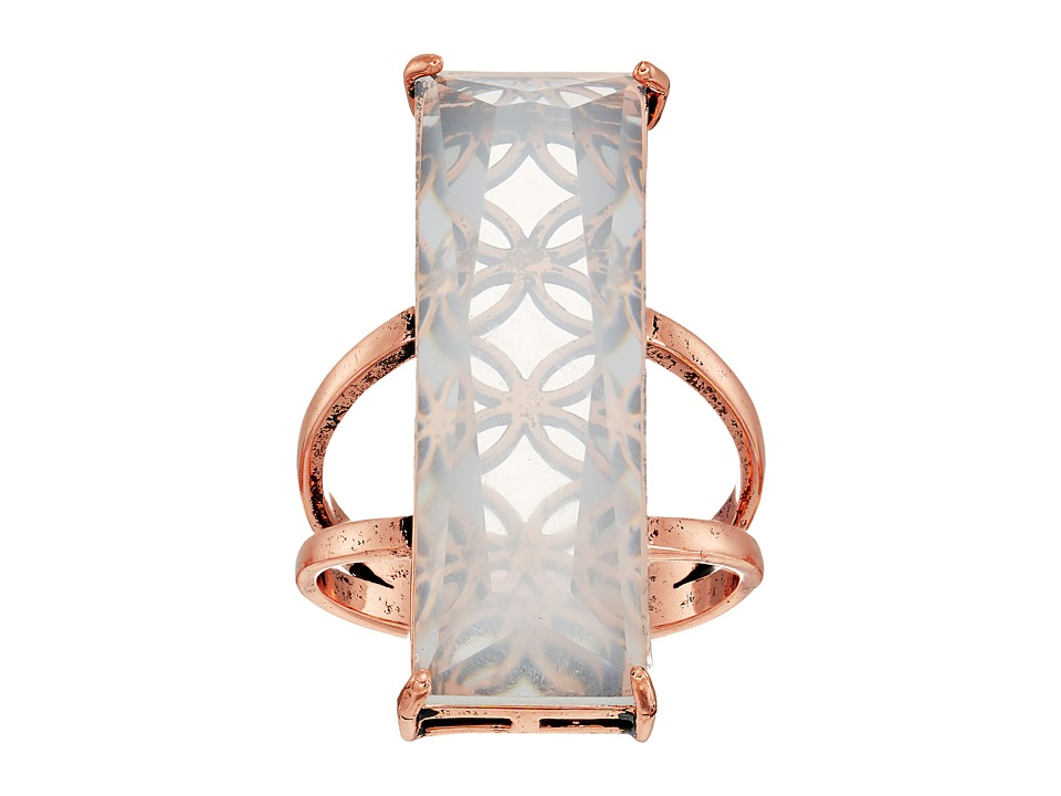 GUESS - Long Rectangular Faux Stone Ring (Rose Gold/White Opal) Ring