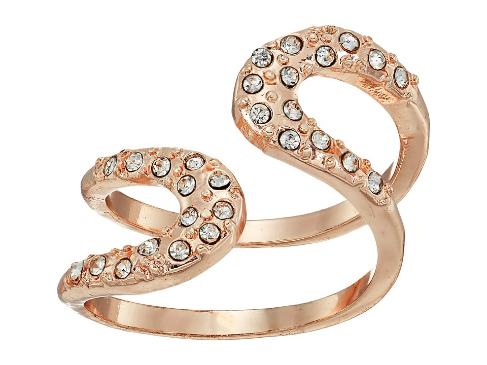 GUESS - Pave Loop Wrap Ring (Rose Gold/Crystal) Ring