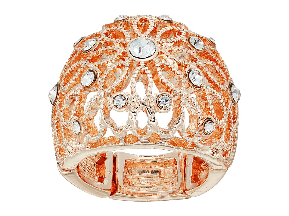 GUESS - Filigree Flower Dome Ring (Rose Gold/Crystal) Ring