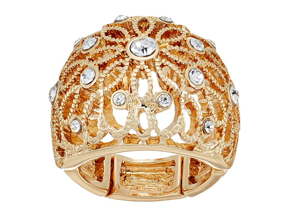 GUESS - Filigree Flower Dome Ring (Gold/Crystal) Ring