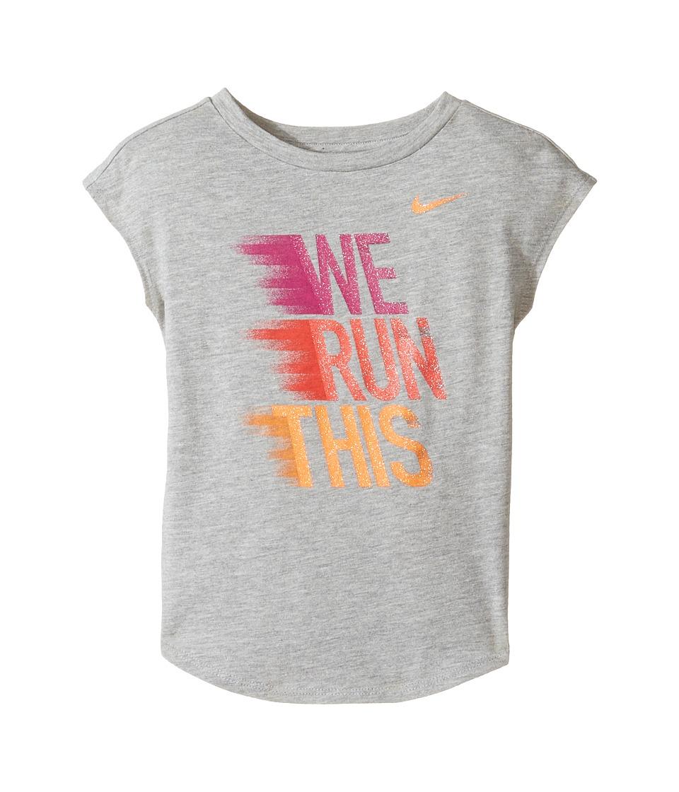 Nike Kids - We Run This Modern Short Sleeve Tee (Toddler) (Dark Grey Heather) Girl's T Shirt