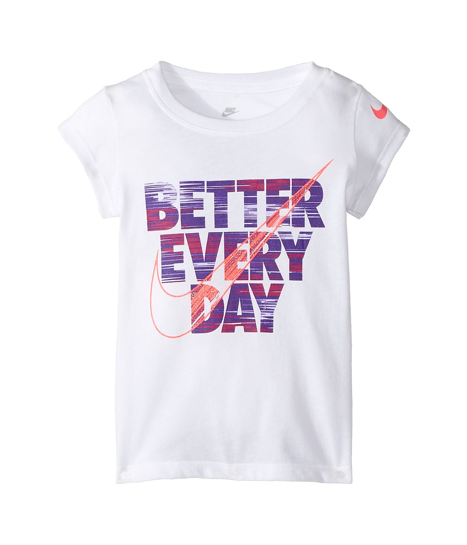 Nike Kids - Better Every Day Short Sleeve Tee (Toddler) (White) Girl's T Shirt