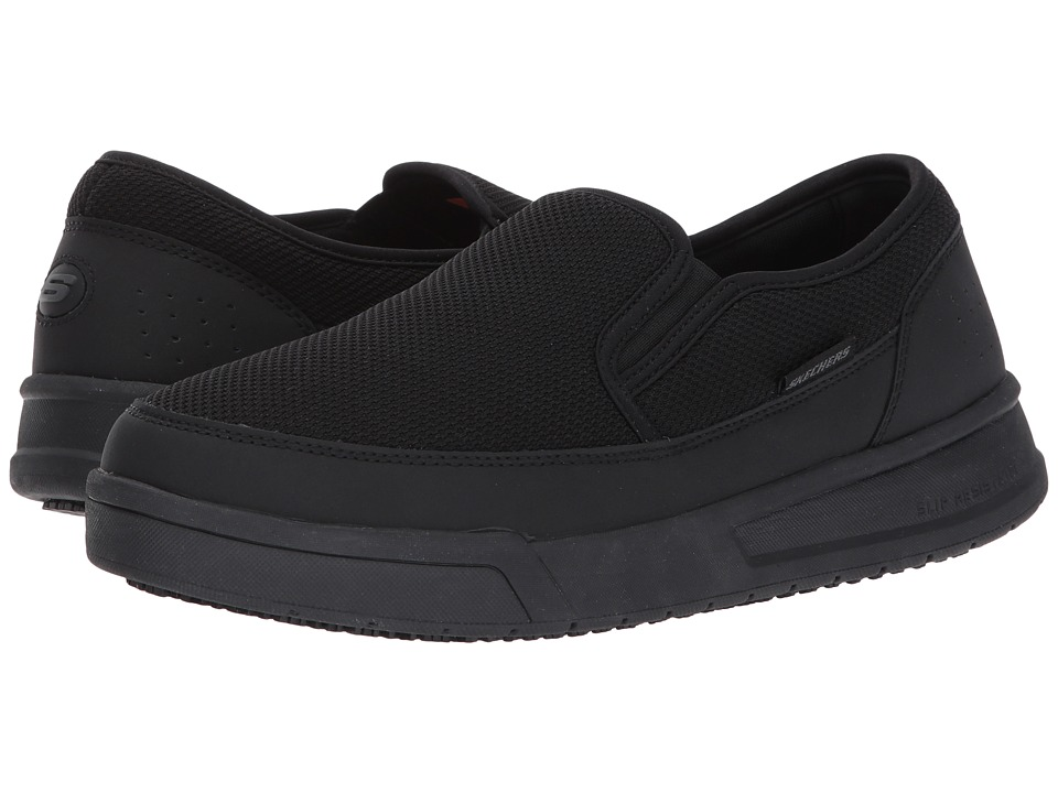 SKECHERS Work - Glenner - Spahl SR (Black Leather/Mesh) Men's Slip on Shoes