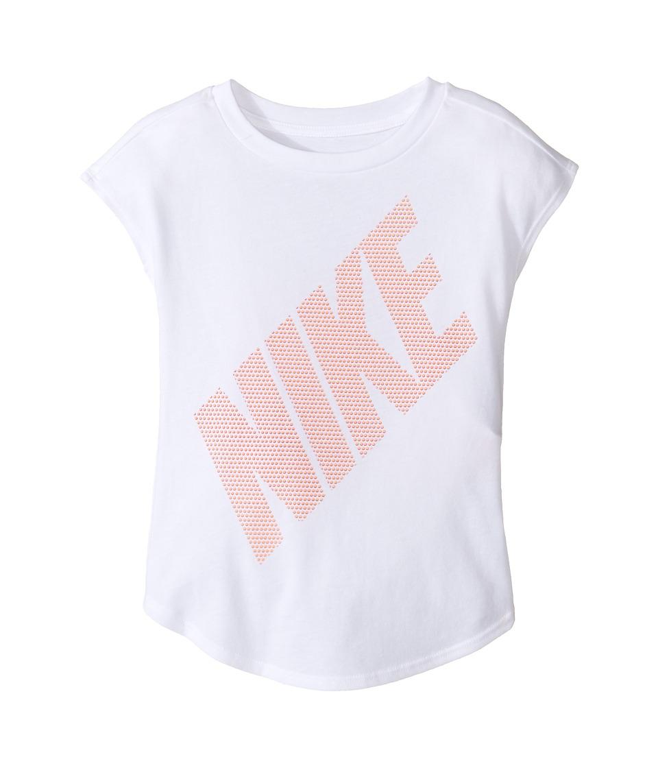 Nike Kids - Splice Modern Short Sleeve Tee (Little Kids) (White) Girl's T Shirt