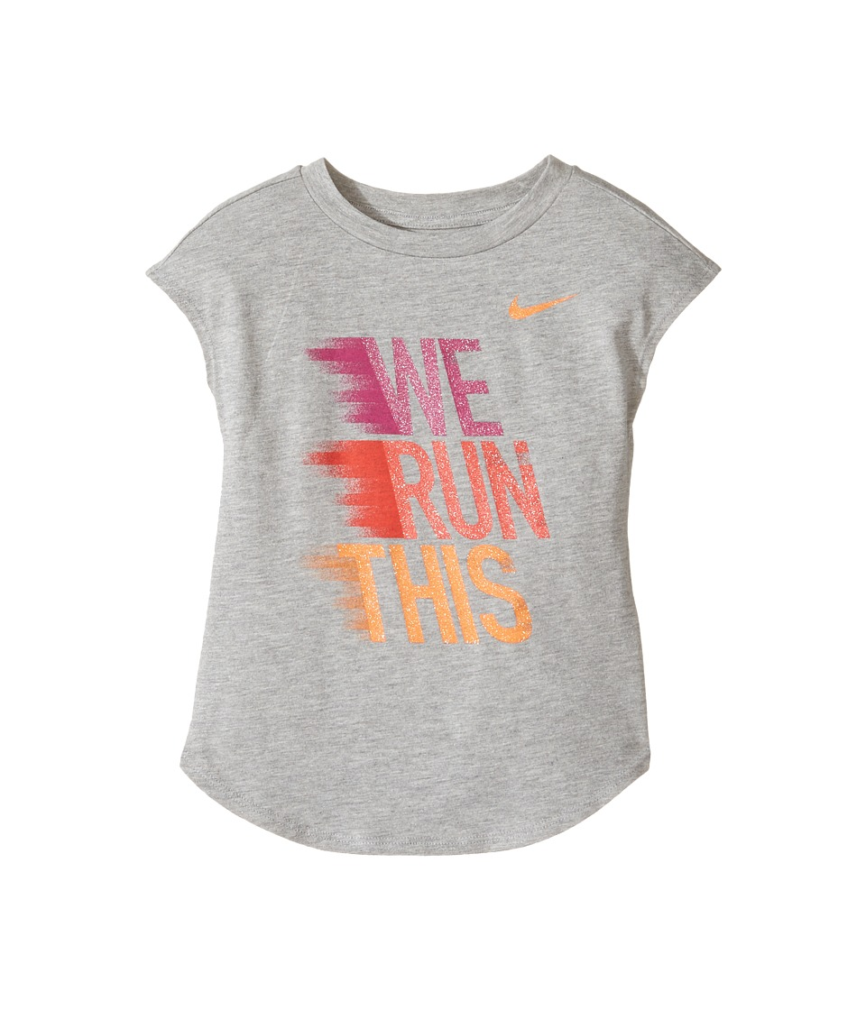 Nike Kids - We Run This Modern Short Sleeve Tee (Little Kids) (Dark Grey Heather) Girl's T Shirt