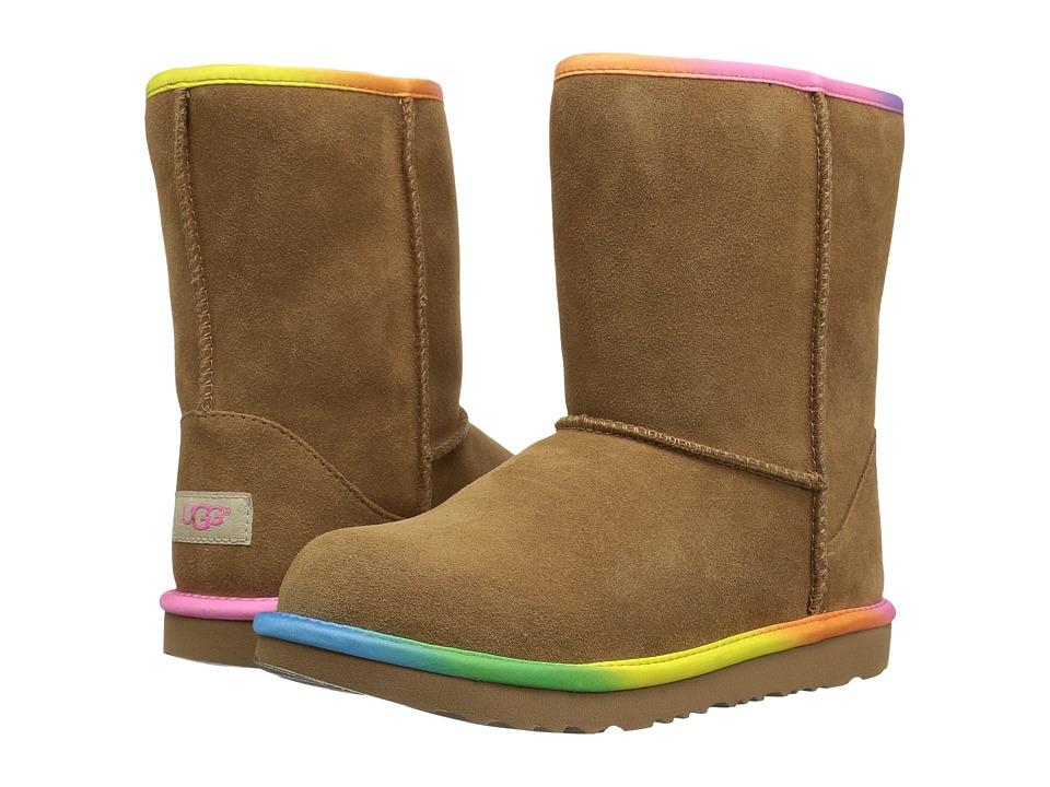 UGG Kids Classic Short II Rainbow (Little Kid/Big Kid) (Chestnut) Girls Shoes