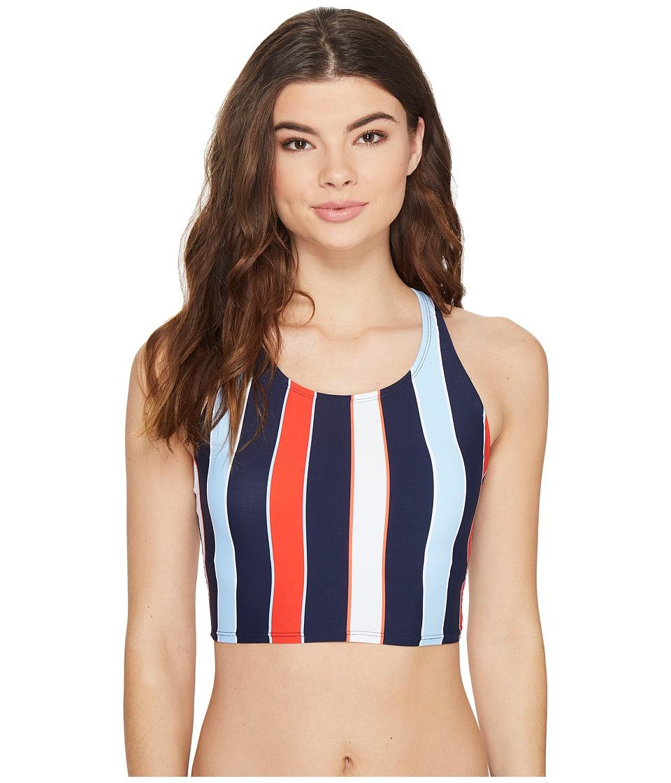 Tommy Hilfiger - Speedy Stripe High Neck Crop Bikini Top (Core Navy) Women's Swimwear