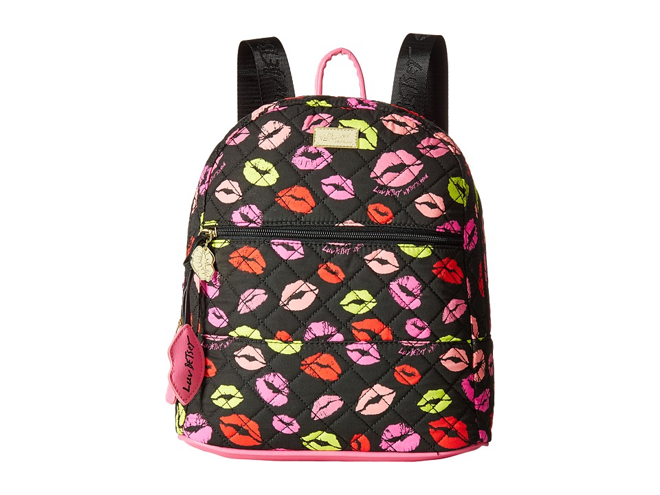Luv Betsey - Barrow Cotton Quilted Backpack (Black/Multi) Handbags