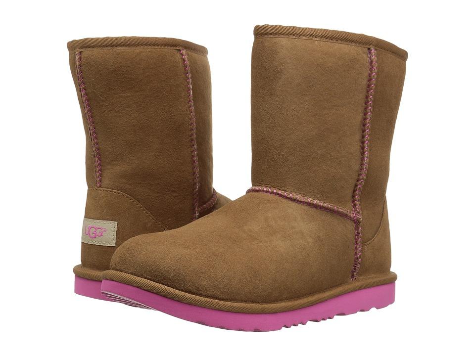 UGG Kids Classic II (Little Kid/Big Kid) (Chestnut/Pink Azalea) Girls Shoes
