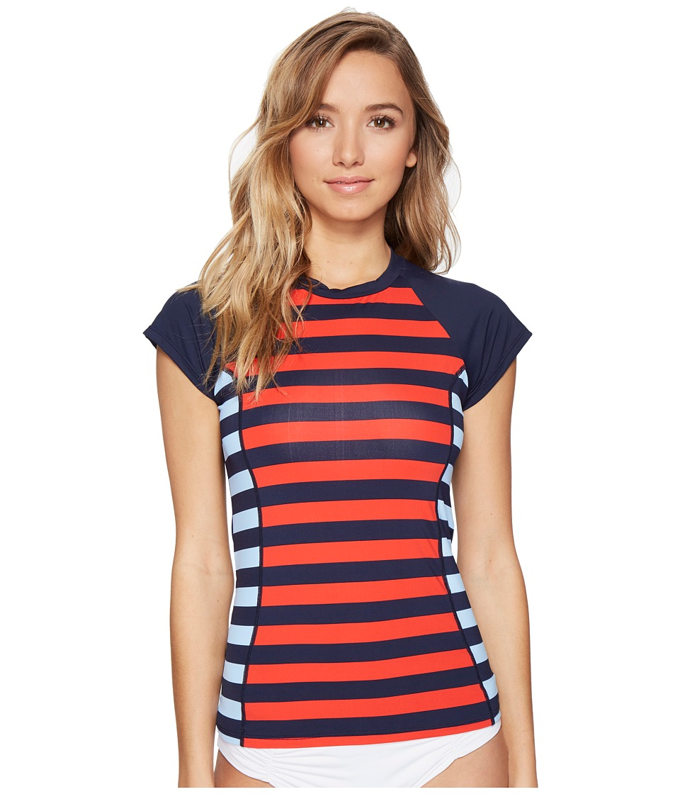 Tommy Hilfiger - Indy Stripe Short Sleeve Rash Guard (Core Navy) Women's Swimwear