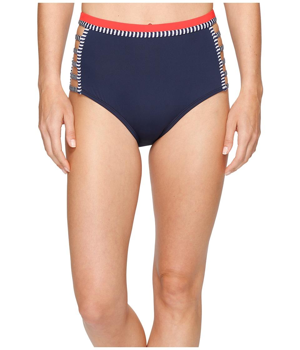 Tommy Hilfiger - Strappy Stripes Strappy High Waist Bikini Bottom (Core Navy) Women's Swimwear
