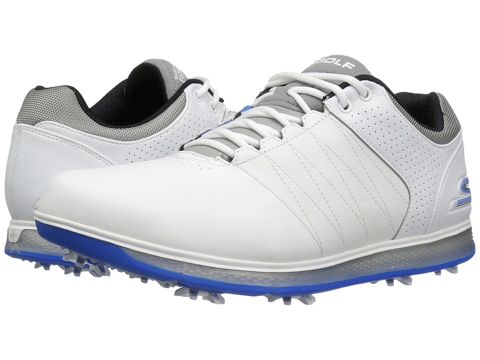 SKECHERS - Go Golf Pro 2 (White/Grey/Blue) Men's Golf Shoes