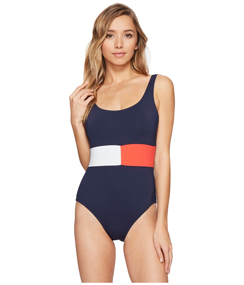 Tommy Hilfiger - Retro Flag Flag Color Block One-Piece (Core Navy) Women's Swimsuits One Piece