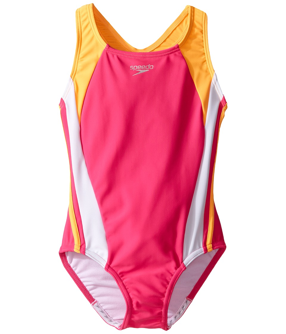 Speedo Kids - Infinity Splice One-Piece Swimsuit (Little Kids) (Electric Pink) Girl's Swimsuits One Piece