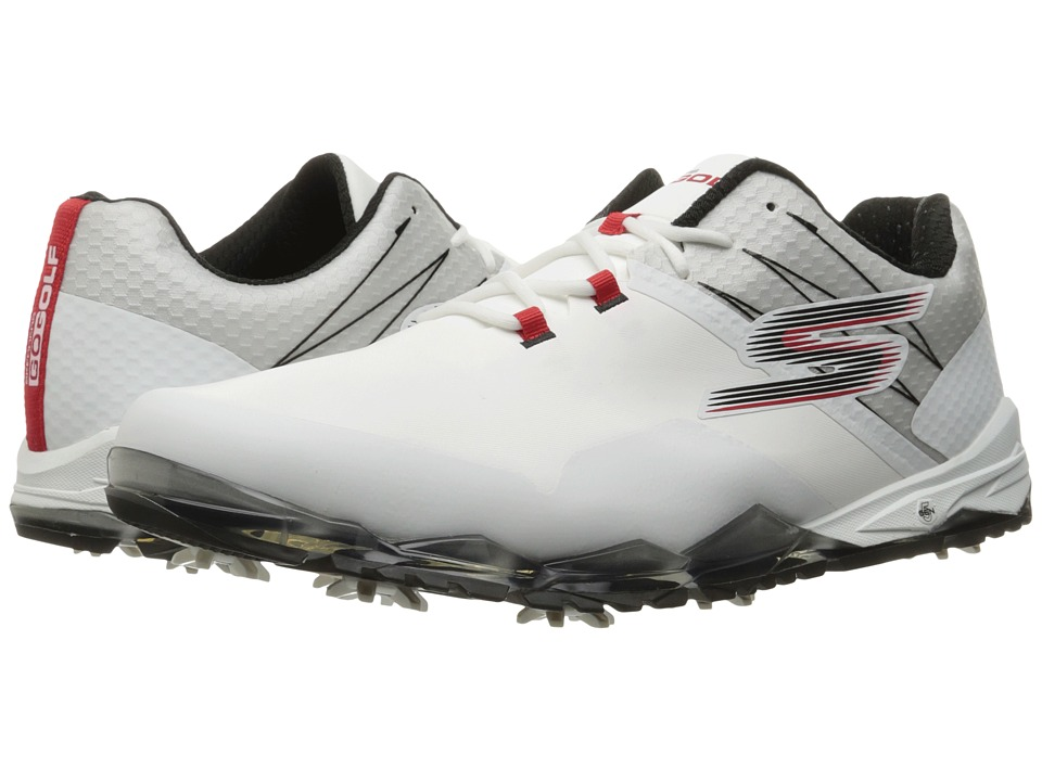 SKECHERS - Go Golf Focus (White/Black/Red) Men's Golf Shoes