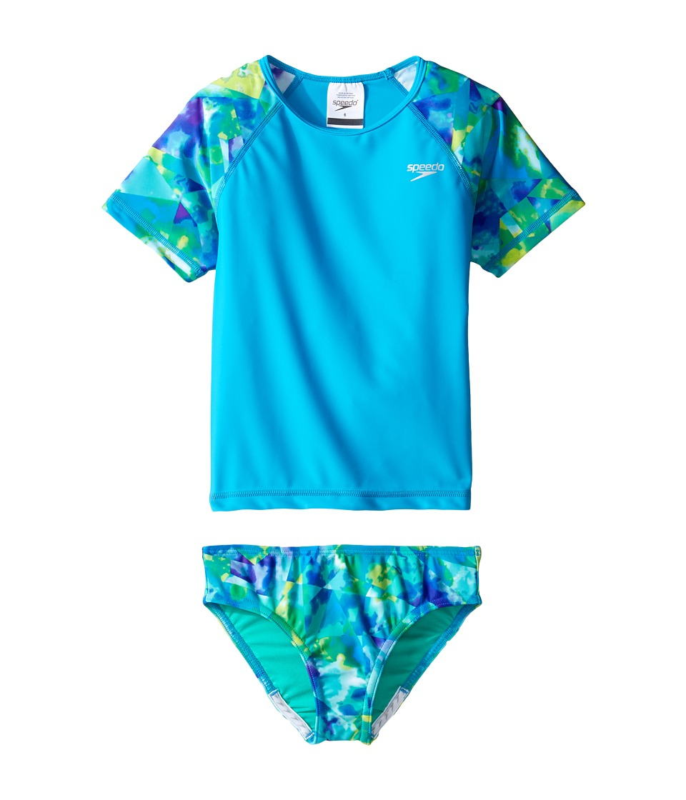Speedo Kids - Short Sleeve Printed Rashguard Two-Piece Swimsuit Set (Little Kids) (Cyan) Girl's Swimwear Sets