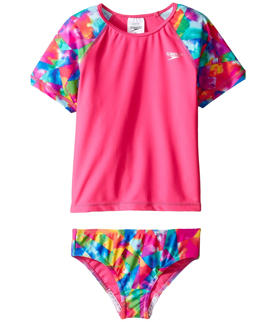 Speedo Kids - Short Sleeve Printed Rashguard Two-Piece Swimsuit Set (Little Kids) (Electric Pink) Girl's Swimwear Sets