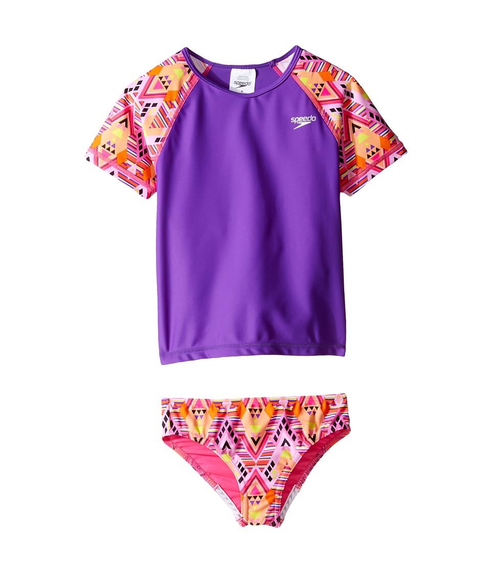 Speedo Kids - Short Sleeve Printed Rashguard Two-Piece Swimsuit Set (Little Kids) (Plumtastic) Girl's Swimwear Sets