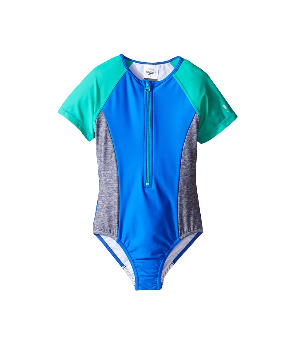 Speedo Kids - Short Sleeve Zip One-Piece Swimsuit (Big Kids) (Radiant Blue) Girl's Swimsuits One Piece