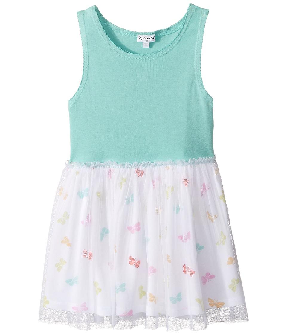 Splendid Littles - Always Butterfly Print Tulle Dress (Toddler) (Light Green) Girl's Dress