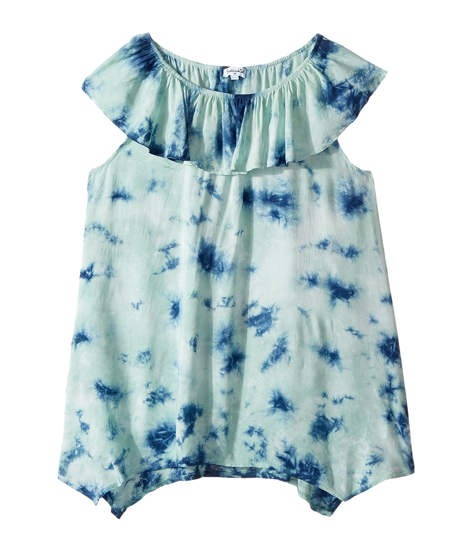 Splendid Littles - All Over Tie-Dye Voile Top (Big Kids) (Light Green) Girl's Clothing