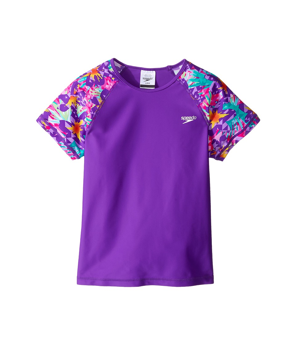 Speedo Kids - Printed Short Sleeve Rashguard (Little Kids/Big Kids) (Speedo Purple) Girl's Swimwear