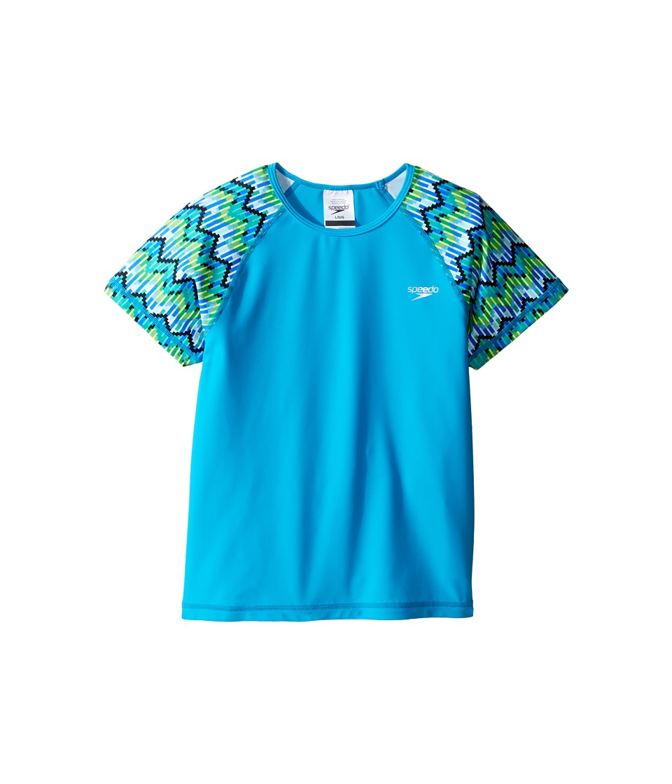 Speedo Kids Printed Short Sleeve Rashguard (Little Kids/Big Kids) (Blue) Girl