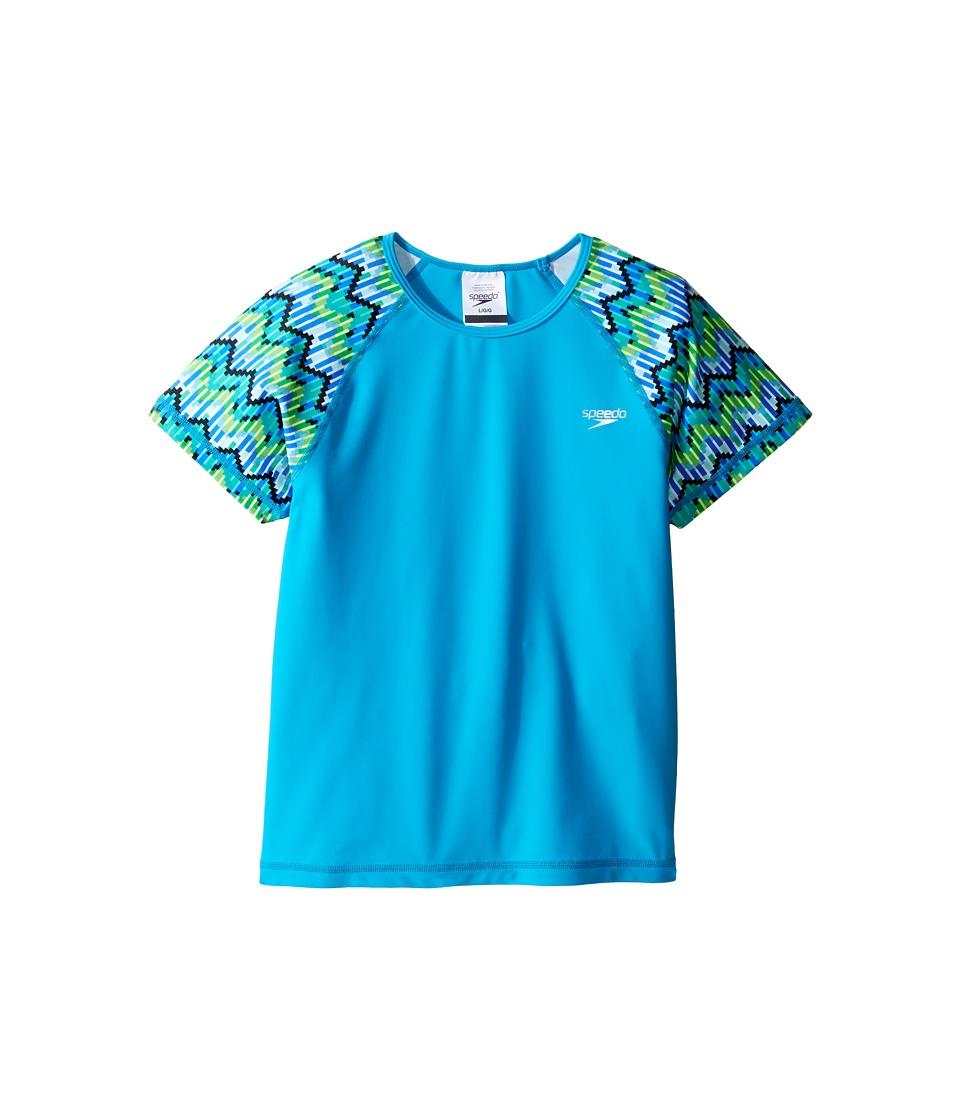 Speedo Kids - Printed Short Sleeve Rashguard (Little Kids/Big Kids) (Blue) Girl's Swimwear