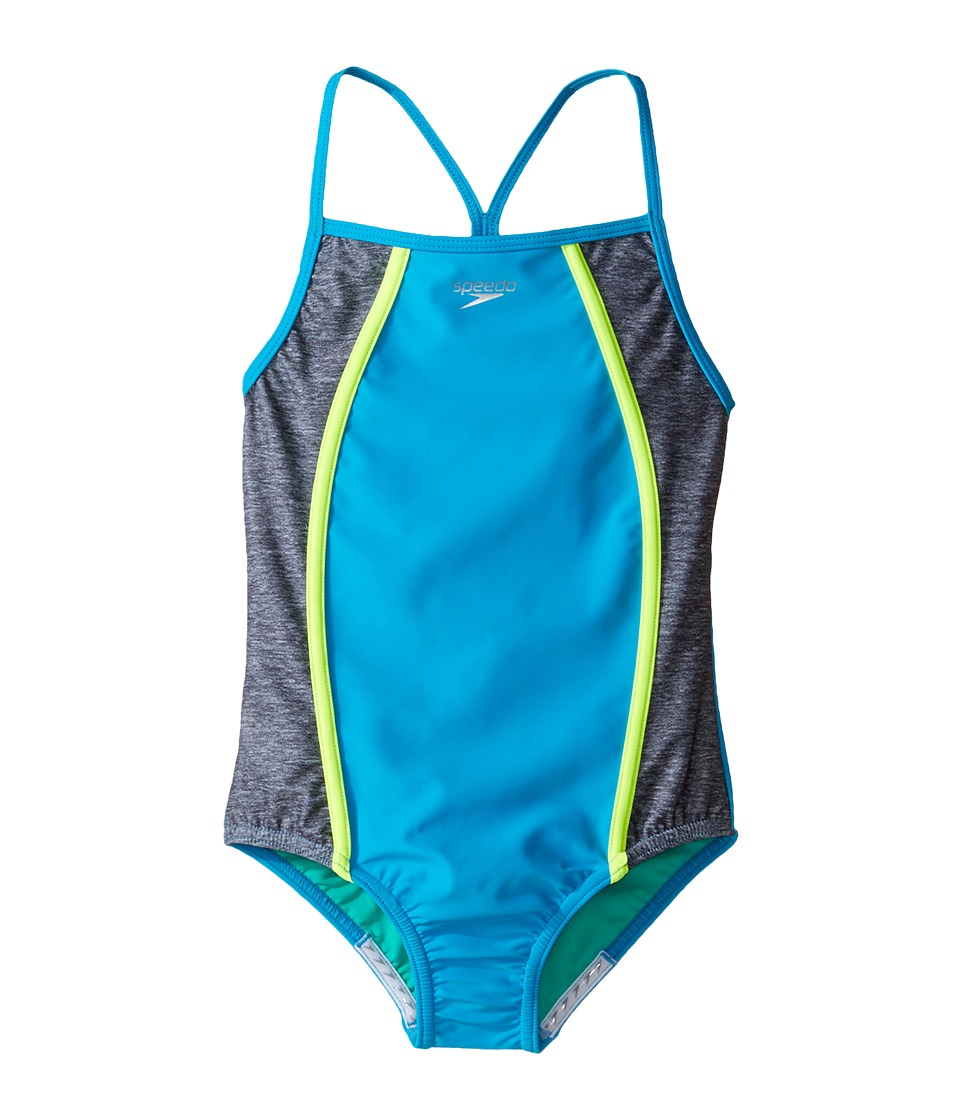 Speedo Kids - Heather Splice One-Piece Swimsuit (Big Kids) (Cyan) Girl's Swimsuits One Piece