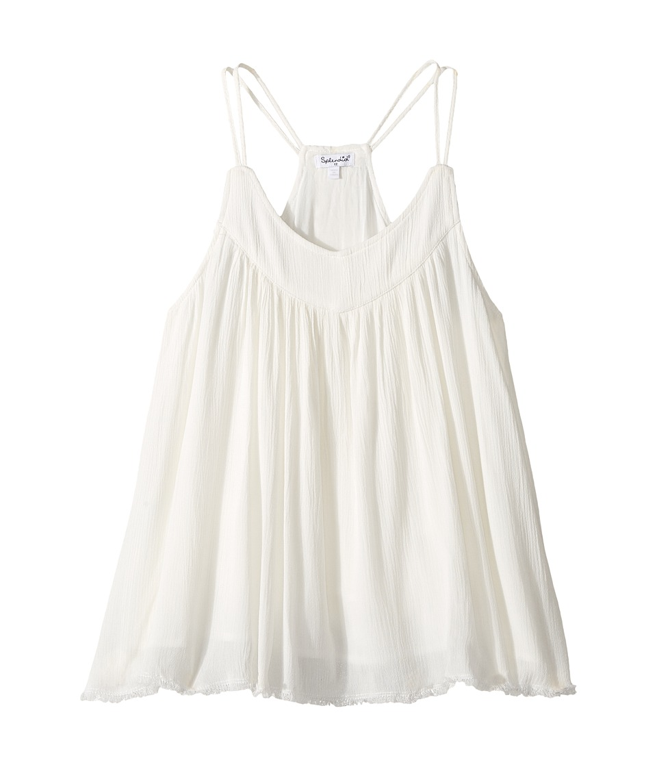 Splendid Littles - Crochet Trimmed Frayed Hem Top (Big Kids) (Off-White) Girl's Clothing