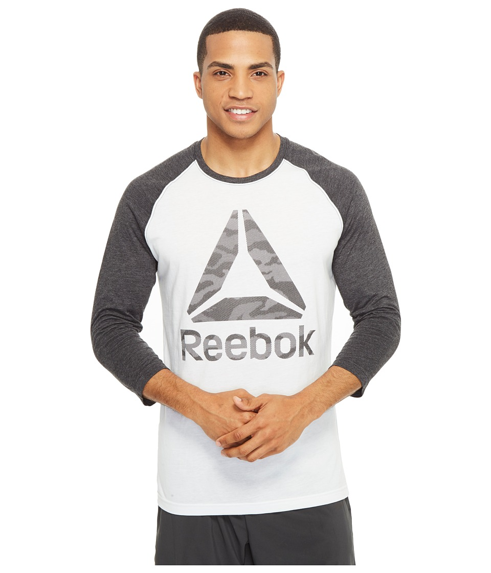 Reebok - Camo Brand Baseball Tee (White) Men's T Shirt