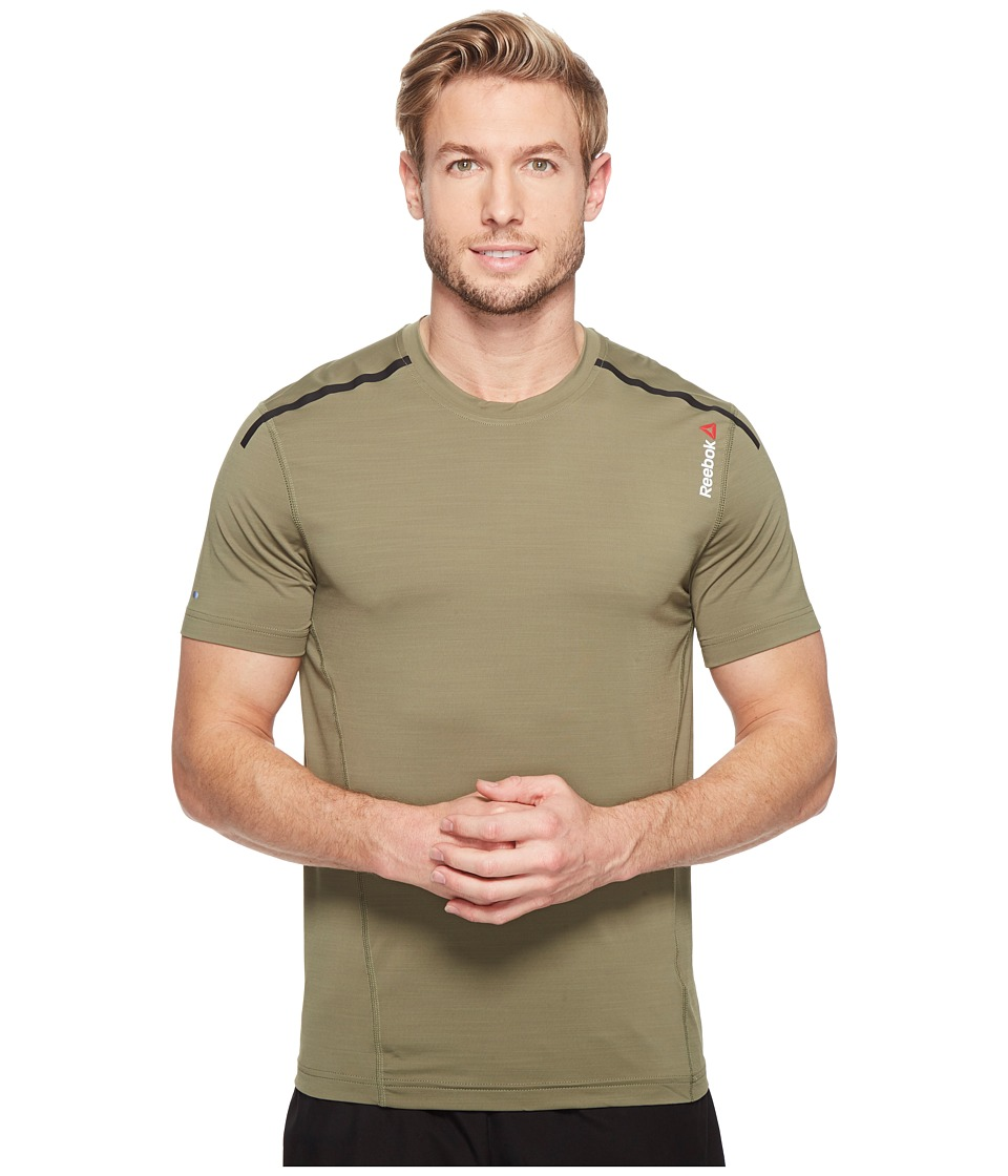 Reebok - One Series Activchill Shot Sleeve Top (Canopy Green) Men's Clothing