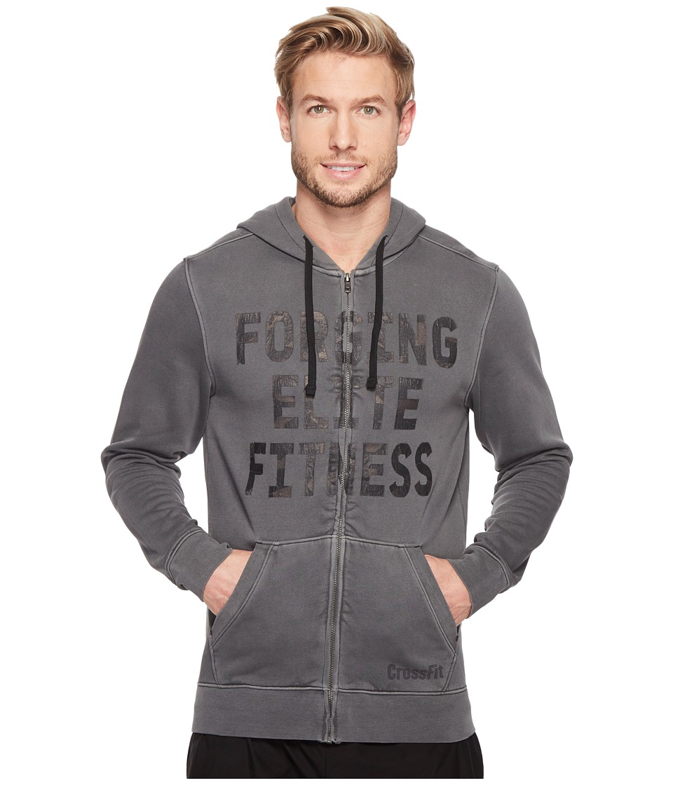 Reebok - Crossfit Forging Elite Fitness Full Zip Hoodie (Black) Men's Clothing
