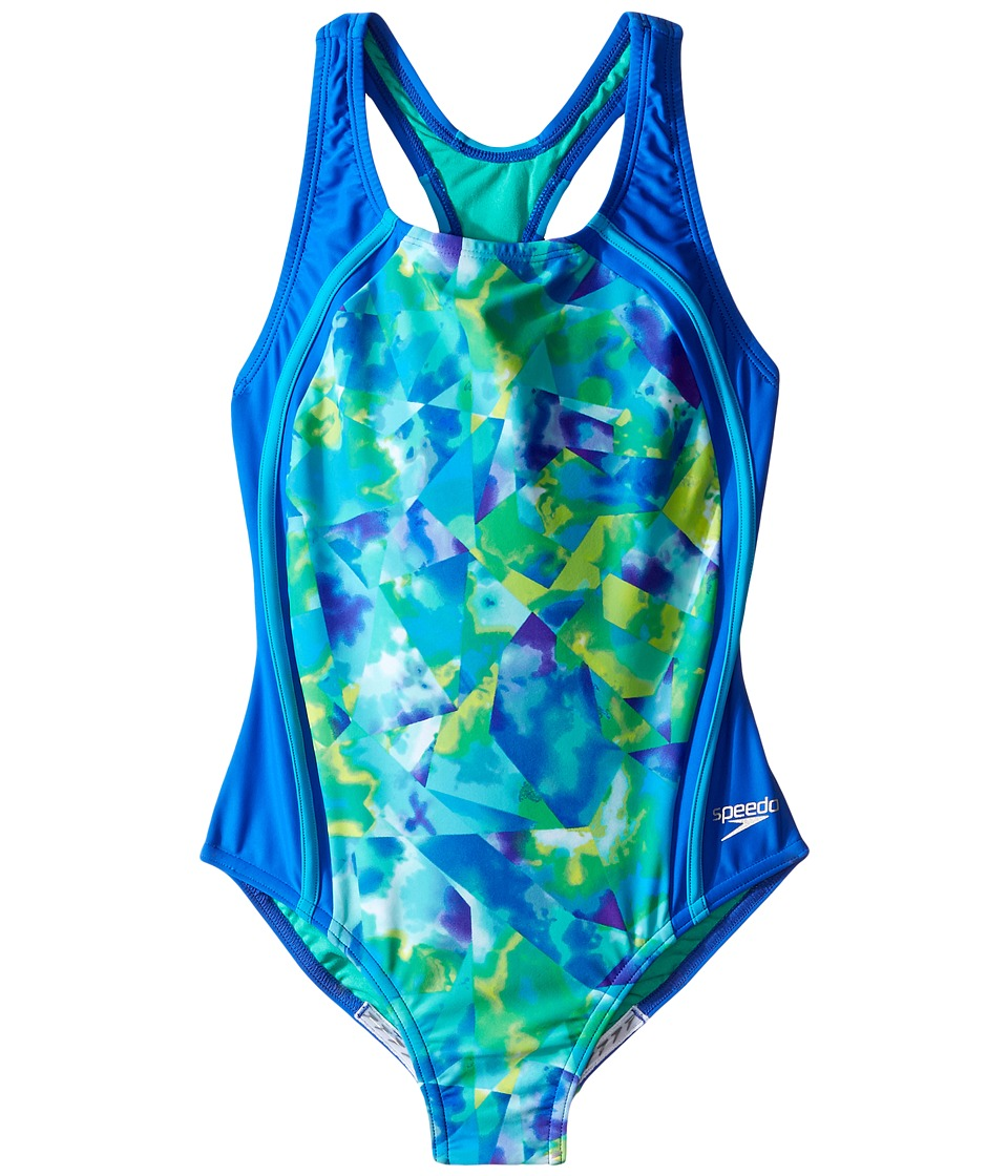 Speedo Kids - Tie-Dye Sky Sport Splice One-Piece Swimsuit (Big Kids) (Blue) Girl's Swimsuits One Piece