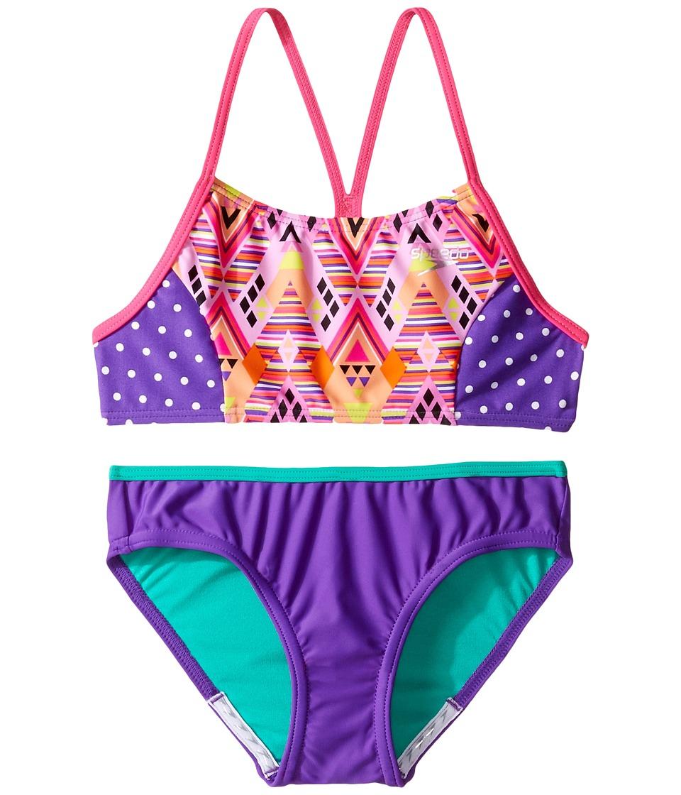 Speedo Kids - Diamond Geo Splice Two-Piece Swimsuit (Big Kids) (Pink) Girl's Swimsuits One Piece