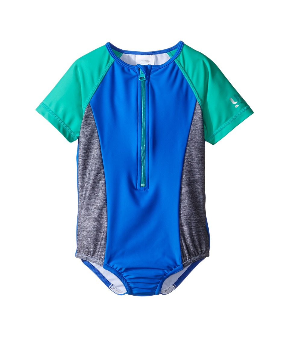 Speedo Kids - Short Sleeve Zip One-Piece Swimsuit (Little Kids) (Radiant Blue) Girl's Swimsuits One Piece