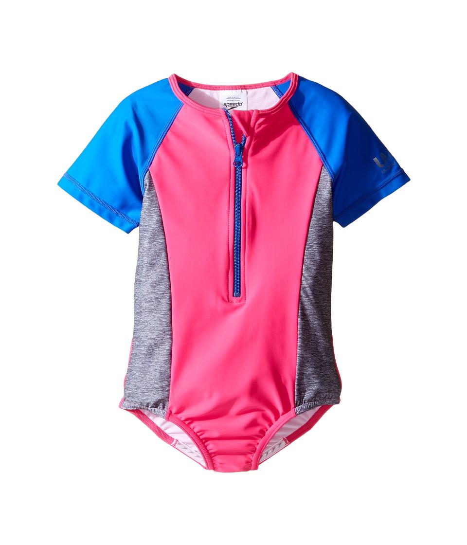 Speedo Kids - Short Sleeve Zip One-Piece Swimsuit (Little Kids) (Electric Pink) Girl's Swimsuits One Piece