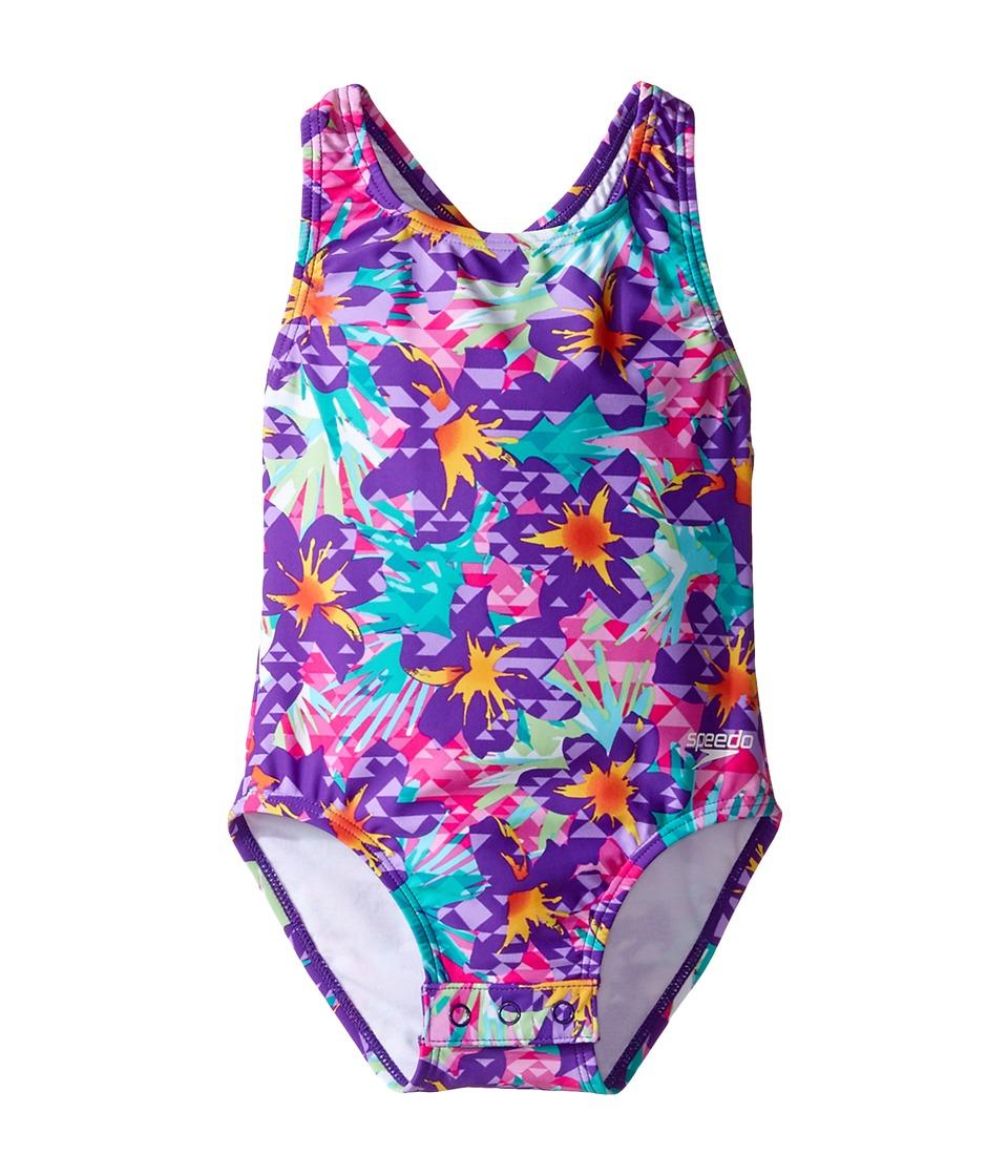 Speedo Kids - Printed Racerback One-Piece Swimsuit w/ Snaps (Infant/Toddler) (Speedo Purple) Girl's Swimsuits One Piece