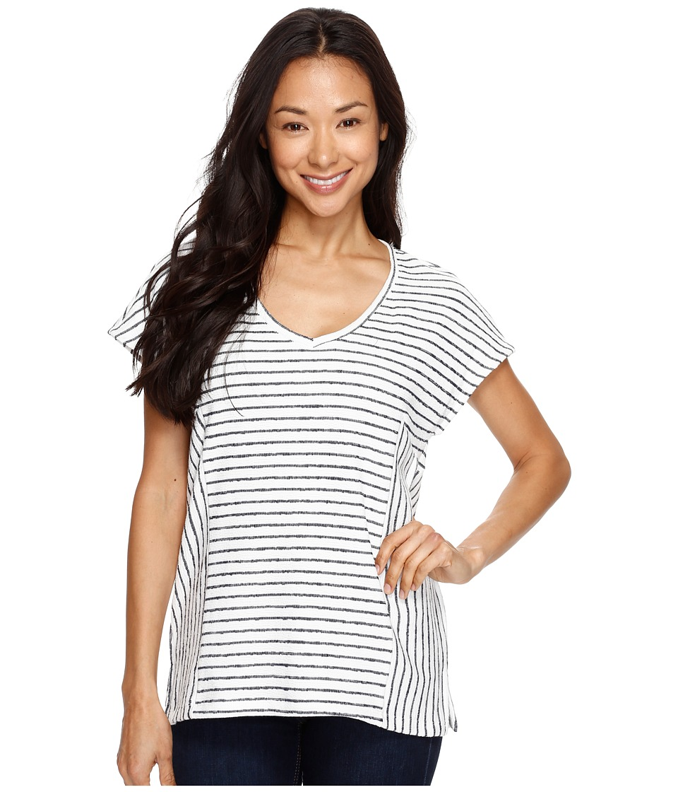 TWO by Vince Camuto - Directional Nautical Stripe V-Neck Top (Ultra White) Women's Blouse