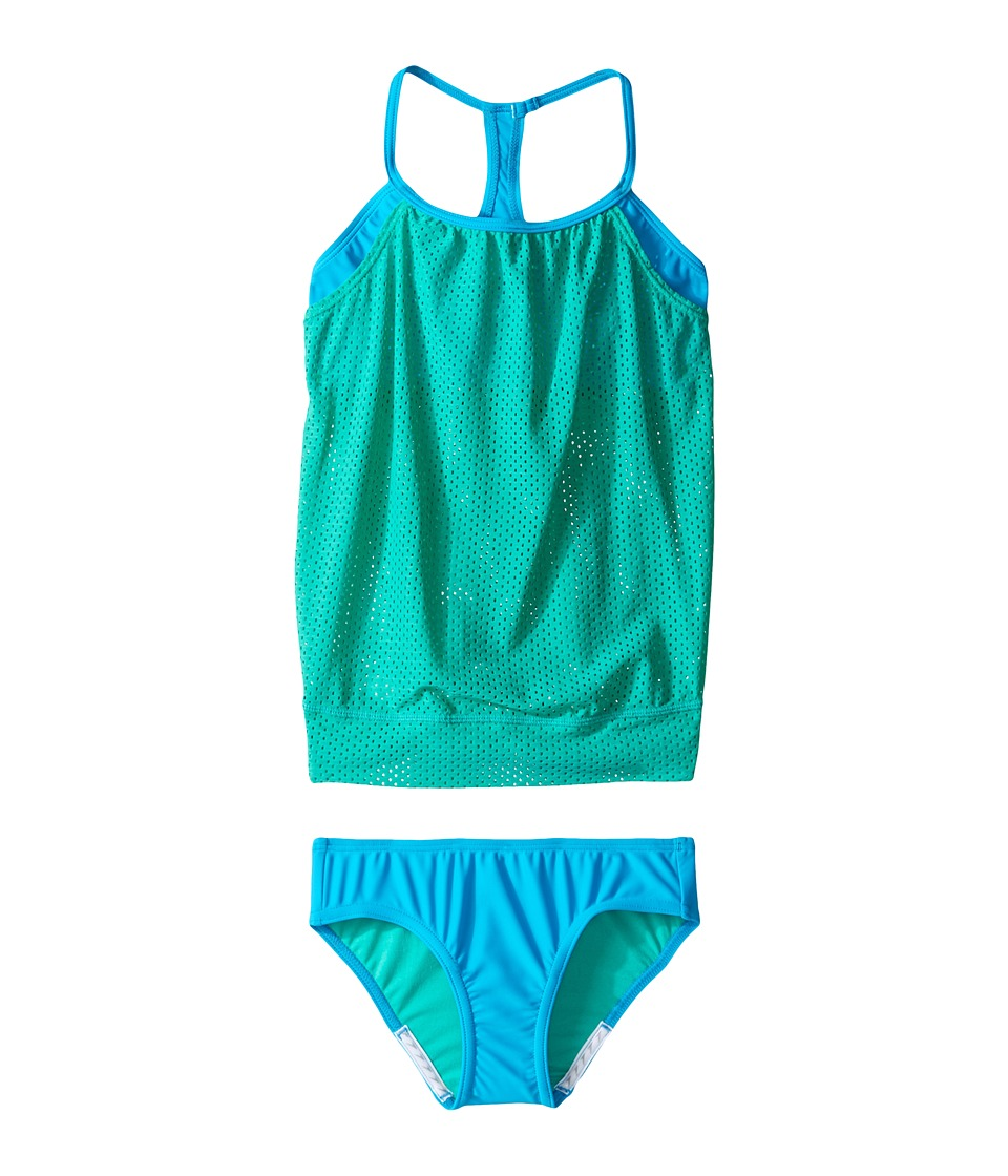 Speedo Kids - Blouson Tankini Two-Piece Swimsuit Set (Big Kids) (Mint Leaf) Girl's Swimwear Sets