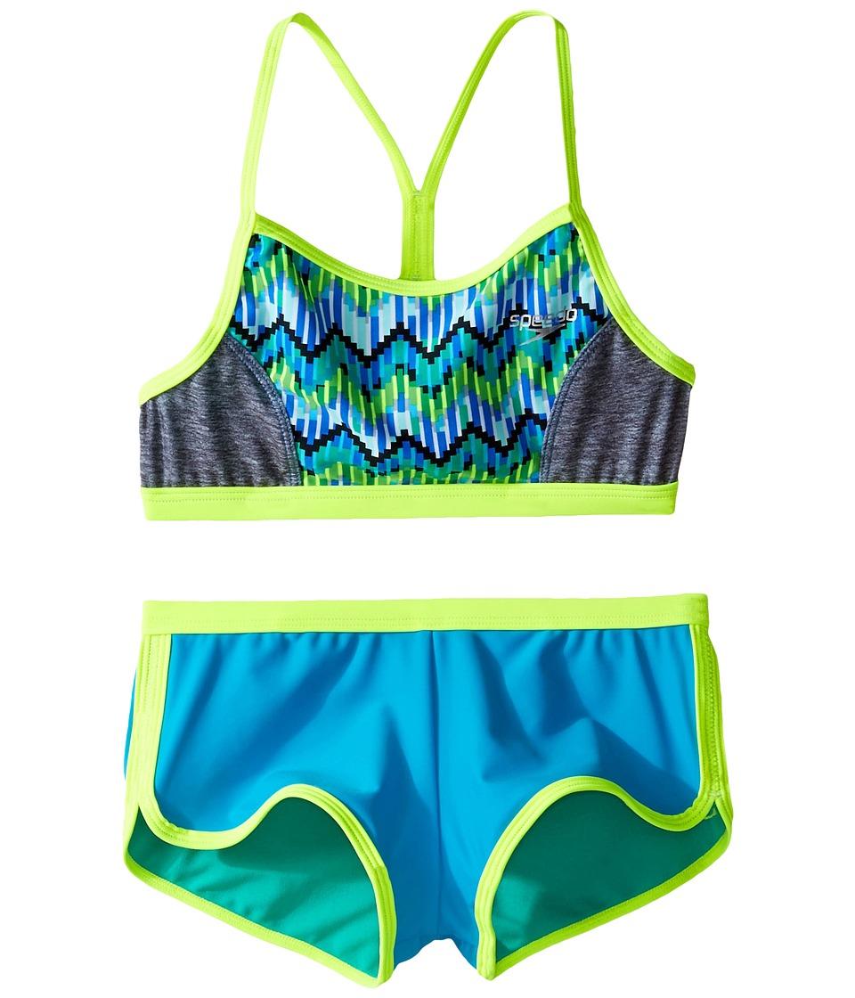 Speedo Kids Digi Zigzag Heather Two-Piece Boyshorts Swimsuit Set (Big Kids) (Blue) Girl