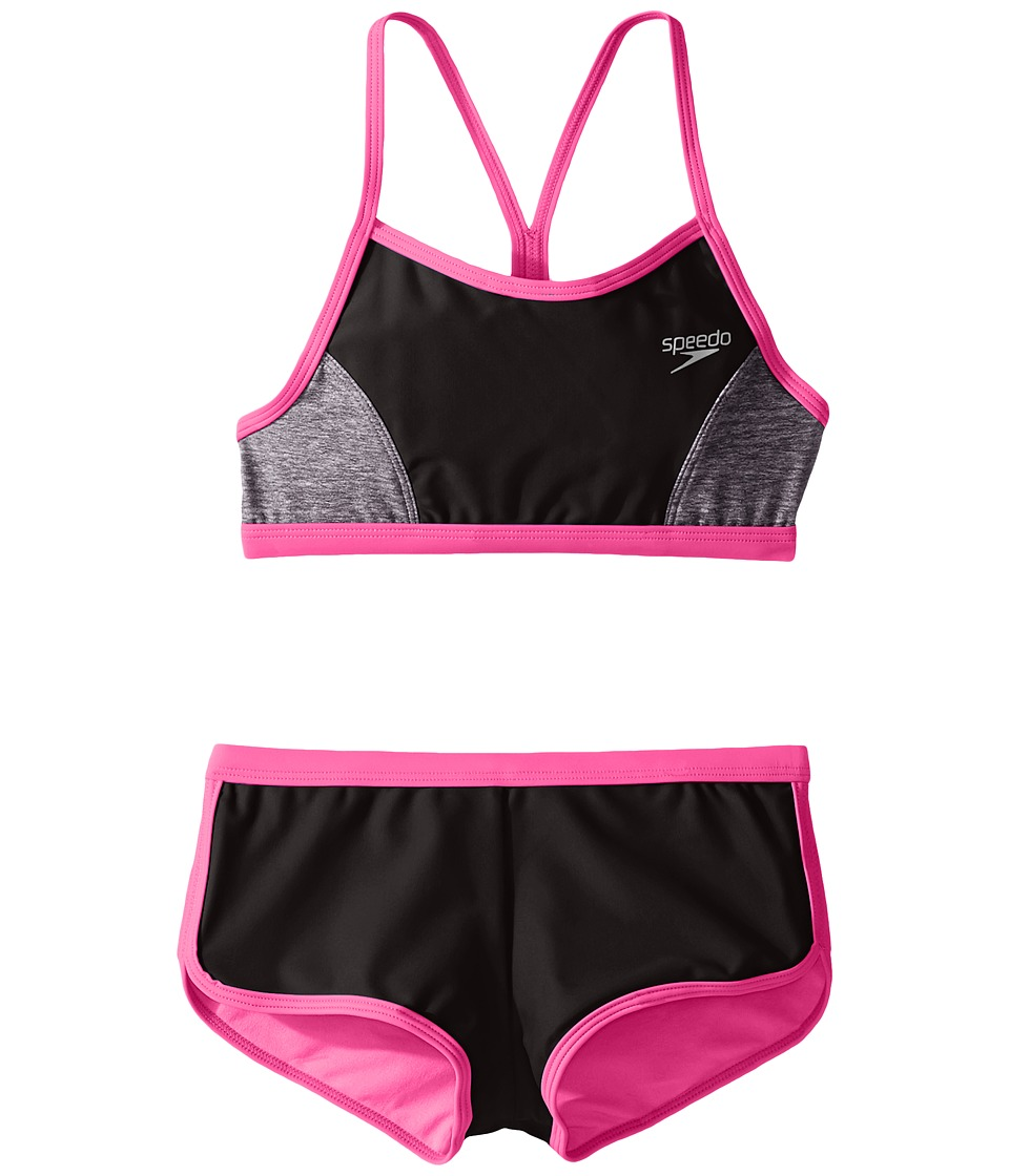 Speedo Kids - Heather Splice Boyshorts Two-Piece Swimsuit Set (Big Kids) (Speedo Black) Girl's Swimwear Sets