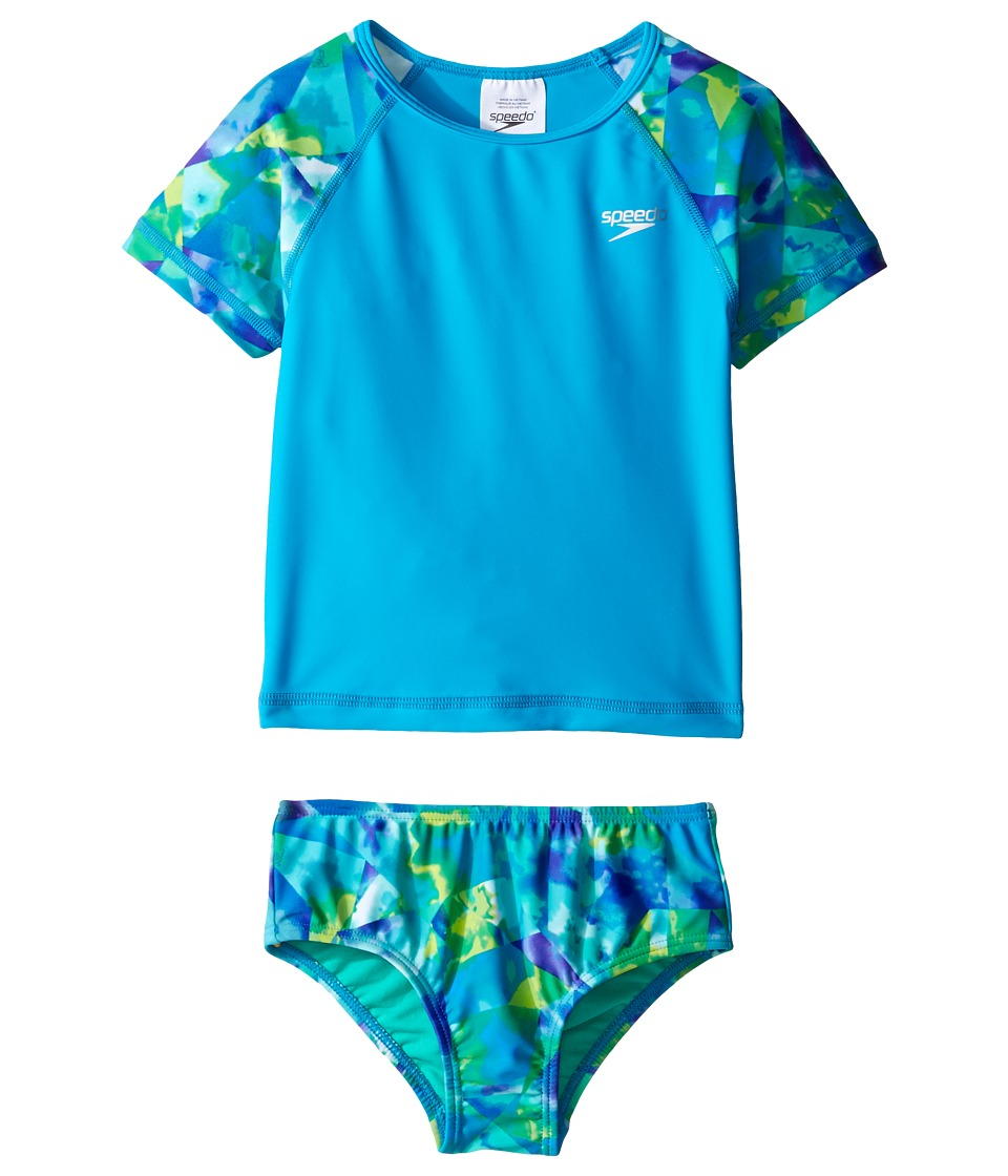 Speedo Kids - Printed Short Sleeve Rashguard Two-Piece Swimsuit Set (Infant/Toddler) (Cyan) Girl's Swimwear Sets