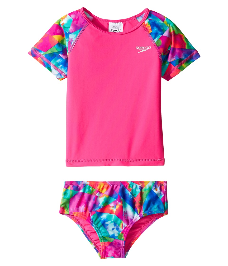 Speedo Kids - Printed Short Sleeve Rashguard Two-Piece Swimsuit Set (Infant/Toddler) (Electric Pink) Girl's Swimwear Sets