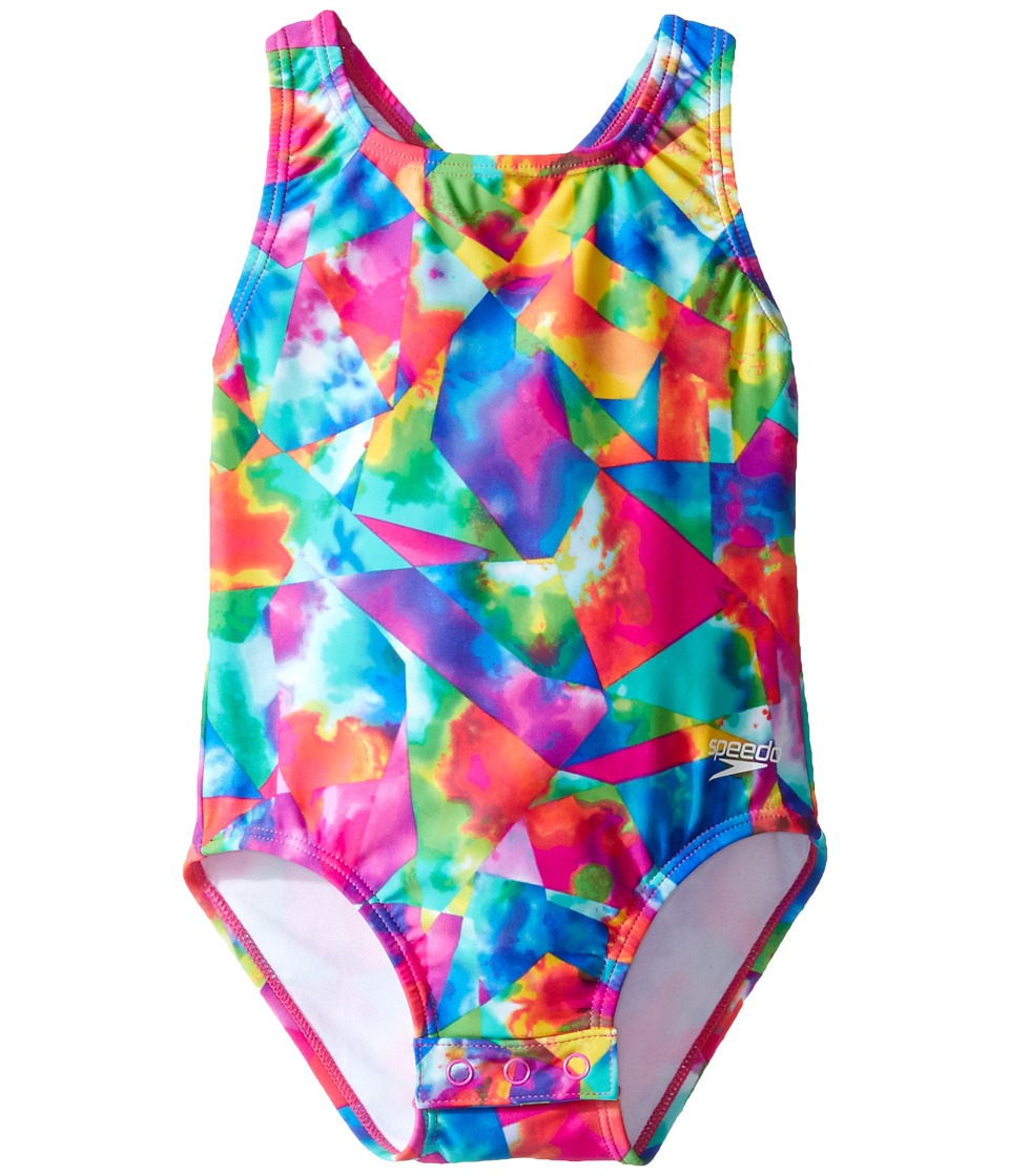 Speedo Kids - Printed Racerback One-Piece Swimsuit w/ Snaps (Infant/Toddler) (Multi) Girl's Swimsuits One Piece