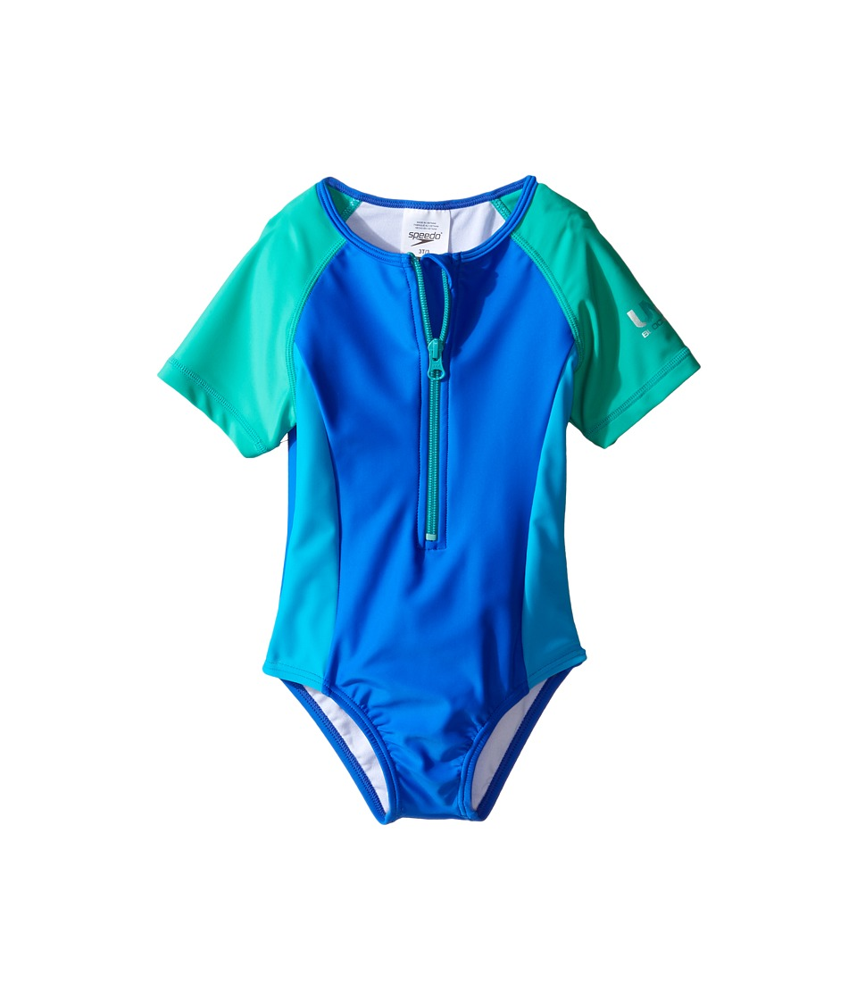 Speedo Kids - Short Sleeve Zip One-Piece Swimsuit (Infant/Toddler) (Radiant Blue) Girl's Swimsuits One Piece