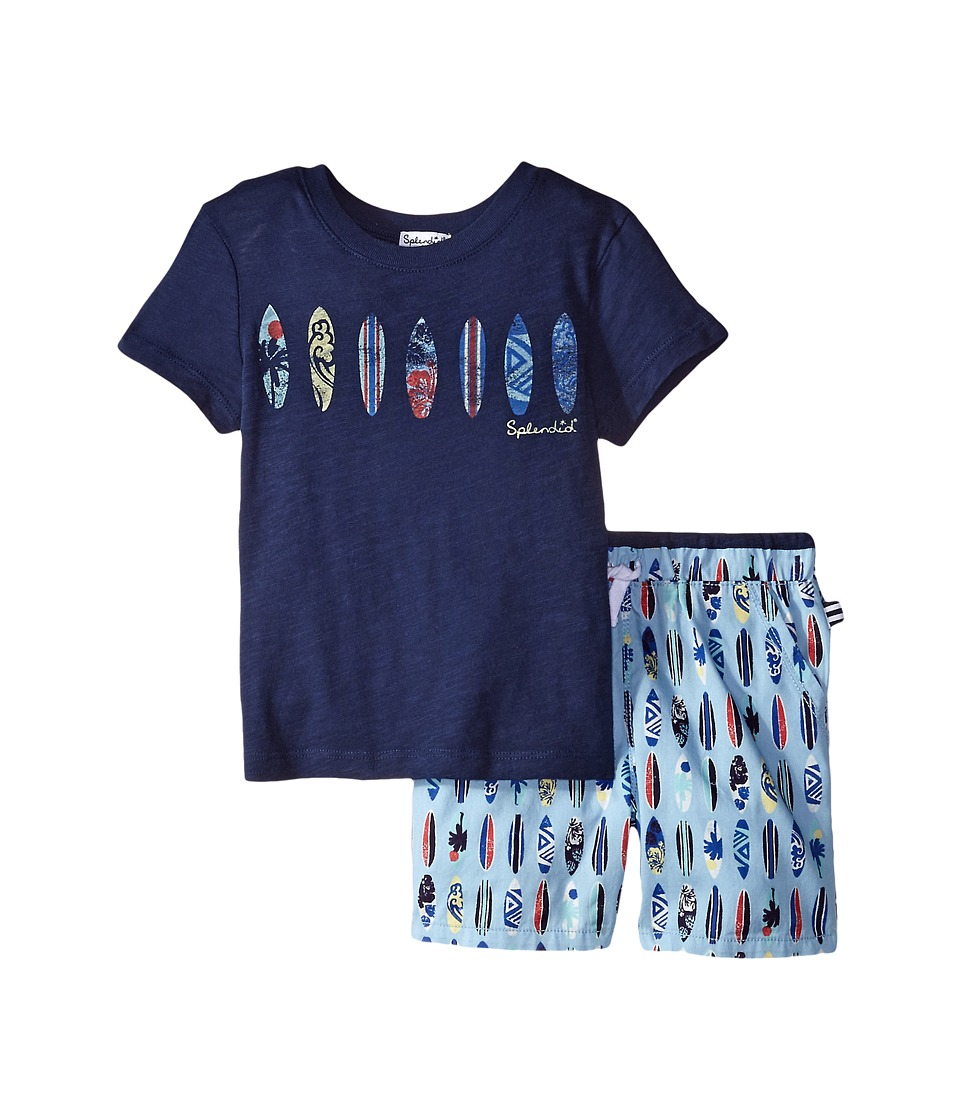 Splendid Littles - Surfboard Printed Short Set (Toddler) (Navy) Boy's Active Sets